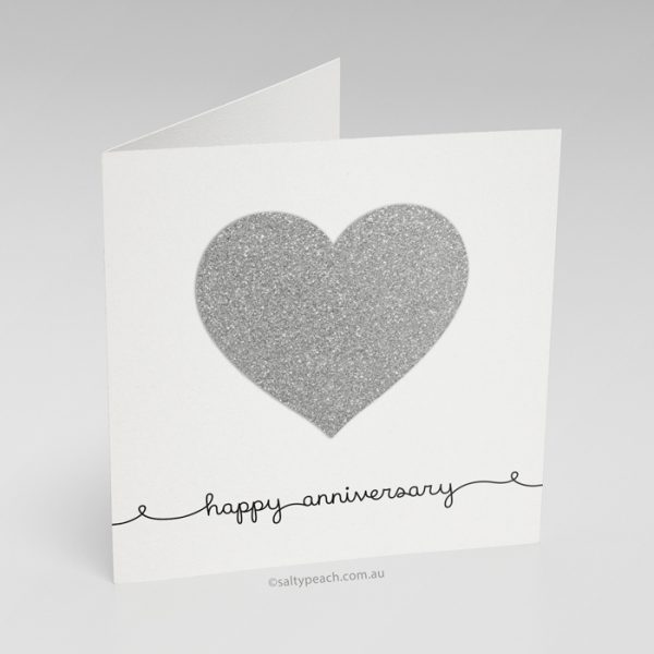 Handmade Anniversary Card Silver Heart