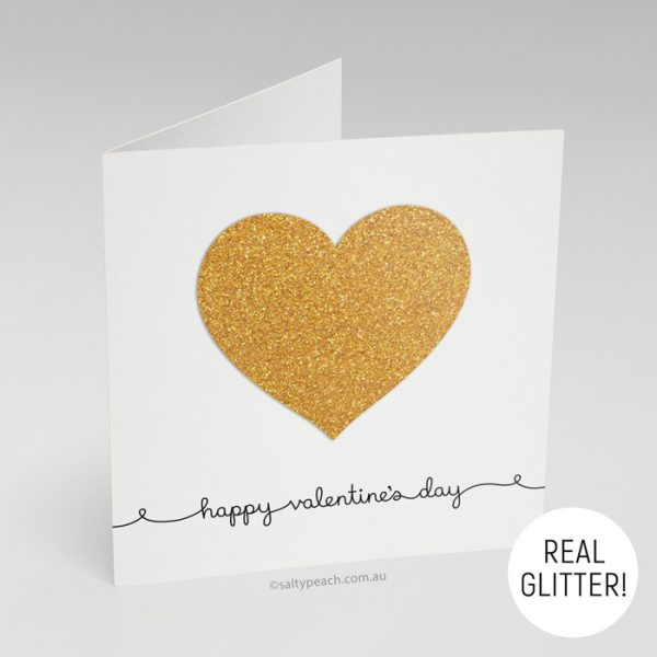 Handmade Valentine's Day Card Bright Gold Heart