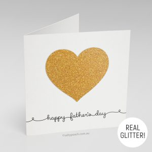 Handmade Father's Day Card Bright Gold Heart